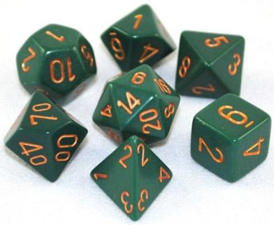 Opaque Dusty Green with gold (set of 7 dice)