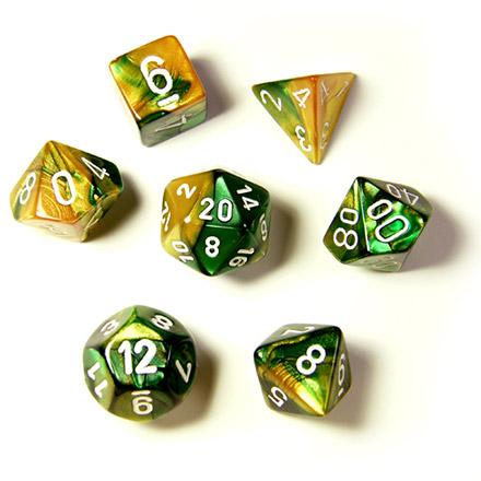 Gemini Gold-Green with White (set of 7 dice)