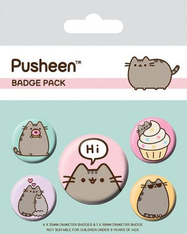 Pusheen Pin Badges 5-Pack Pusheen Says Hi
