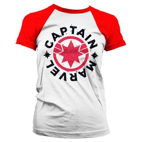 Captain Marvel Round Shield Baseball Girly Tee