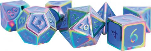 Rainbow with Blue Enamel Metal Polyhedral Dice Set