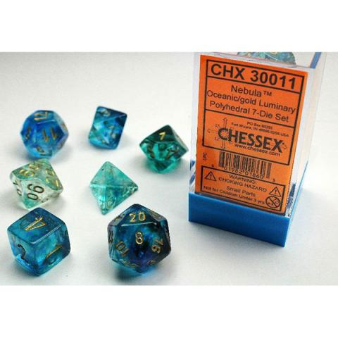 Nebula Oceanic/Gold Luminary (set of 7 dice)