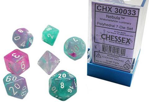 Nebula Wisteria/White Luminary (set of 7 dice)