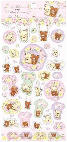 Rilakkuma Stickers: Korilakkuma meets Chairoikoguma Swing