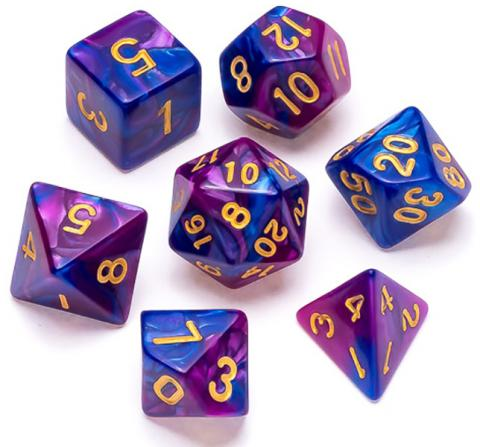 Marble Series: Blue & Purple - Numbers: Gold