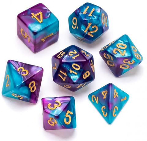 Marble Series: Pale Blue & Purple - Numbers: Gold