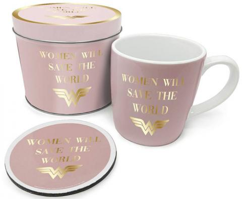 Wonder Woman Mug with Coaster Woman Will Save the World