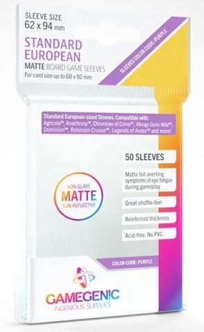 Standard European Board Game Matte Sleeves 62x94mm