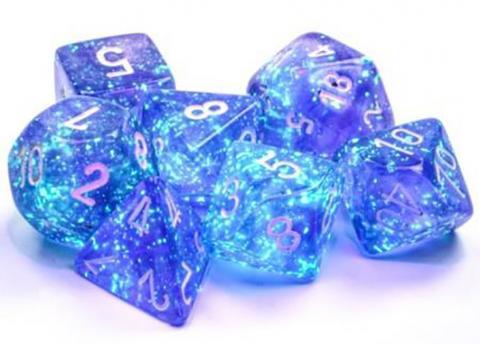 Borealis Purple/White Luminary (set of 7 dice)