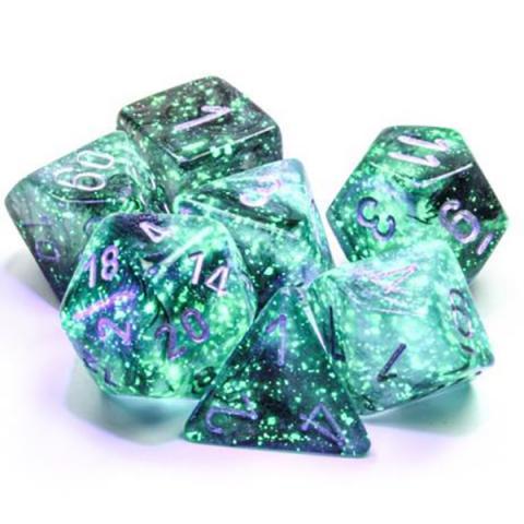 Borealis Light Smoke/Silver Luminary (set of 7 dice)