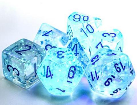 Borealis Icicle/Light Blue Luminary (set of 7 dice)
