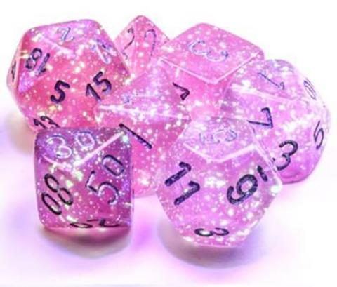 Borealis Pink/Silver Luminary (set of 7 dice)