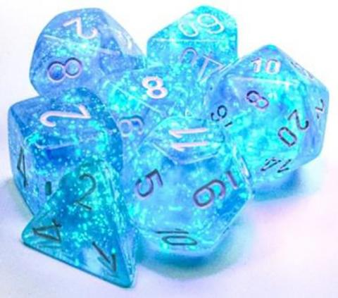 Borealis Sky Blue/White (set of 7 dice)