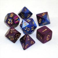 Gemini Blue-Purple with gold (set of 7 dice)