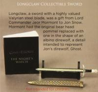 Game of Thrones Longclaw Collectible Sword & Book Kit