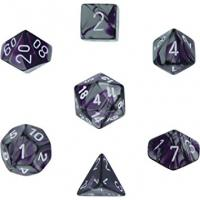 Gemini Purple-Steel with White (set of 7 dice)