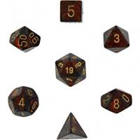 Scarab Blue Blood with Gold (set of 7 dice)