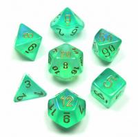 Borealis Light Green/Gold (set of 7 dice)