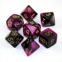 Gemini Black-Purple with Gold (set of 7 dice)