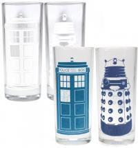 Cold Changing Glasses (Set Of 2) - Tardis & Dalek