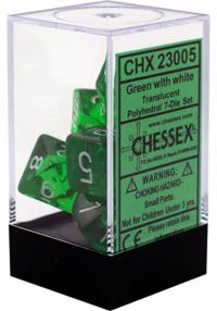 Translucent Green/White (set of 7 dice)
