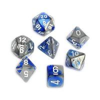 Gemini Blue-Steel with White (set of 7 dice)