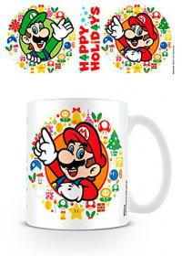 Super Mario Happy Holidays Xmas Mug