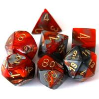 Gemini Steel-Orange with Gold (set of 7 dice)