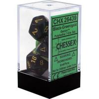 Gemini Black-Green with Gold (set of 7 dice)