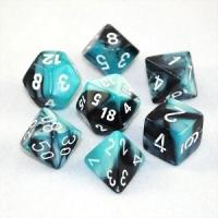 Gemini Black-Shell with White (set of 7 dice)