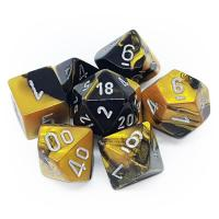 Gemini Black-Gold with Silver (set of 7 dice)
