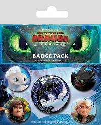How to Train Your Dragon 3 Pin Badges 5-Pack Familiar Faces