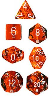 Translucent Orange/White (set of 7 dice)