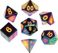 Flame Torched Rainbow Metal Polyhedral Dice Set