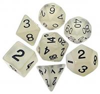 Mini Dice Glow Clear with Black Numbers