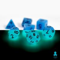 Mini Dice Glow Blue with Black Numbers