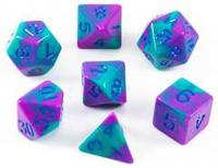 Mini Dice Purple/Teal with Blue Numbers