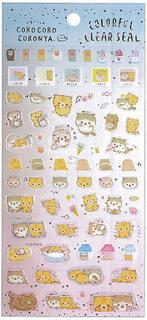 Corone Bread Cat Stickers: Colorful Clearseal