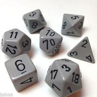 Opaque Grey with Black (set of 7 dice)