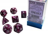 Lustrous Amethyst/White (set of 7 dice)