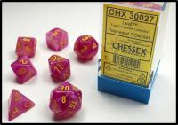 Leaf Fuchsia with Yellow (set of 7 dice)