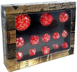 Complete Polyhedral Dice Set 13pcs Opaque Red