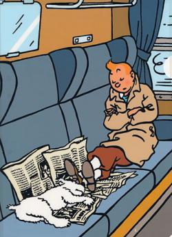 Plastmapp - Tintin och Milou sover på tåget