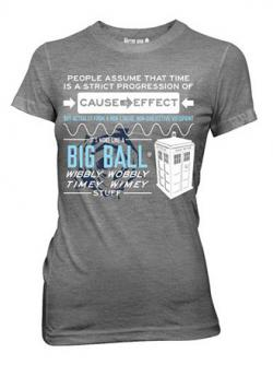 Doctor Who Wibbly Wobbly Timey Stuff Quote Gray Junior T-Shirt