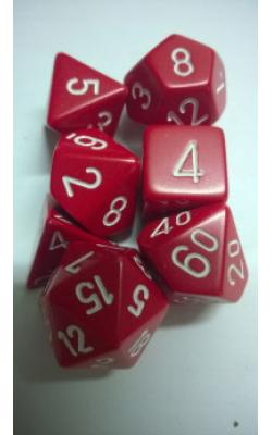 Opaque Red/White (set of 7 dice)