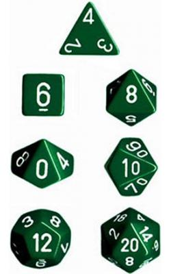 Opaque Green/White (set of 7 dice)
