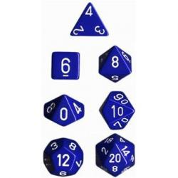 Opaque Blue/White (set of 7 dice)