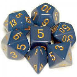 Opaque Dusty Blue with Gold (set of 7 dice)