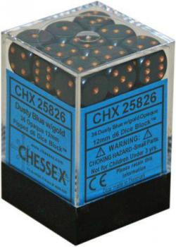 Opaque Dusty Blue with Gold Dice Block (36 d6)