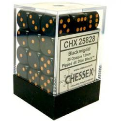 Opaque Black with Gold Dice Block (36 d6)